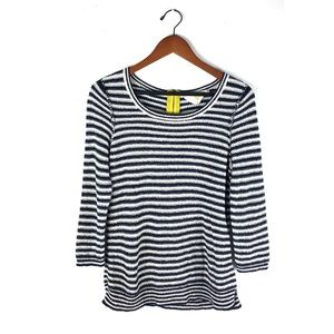 Anthro HWR sweater top striped stacked latitude L